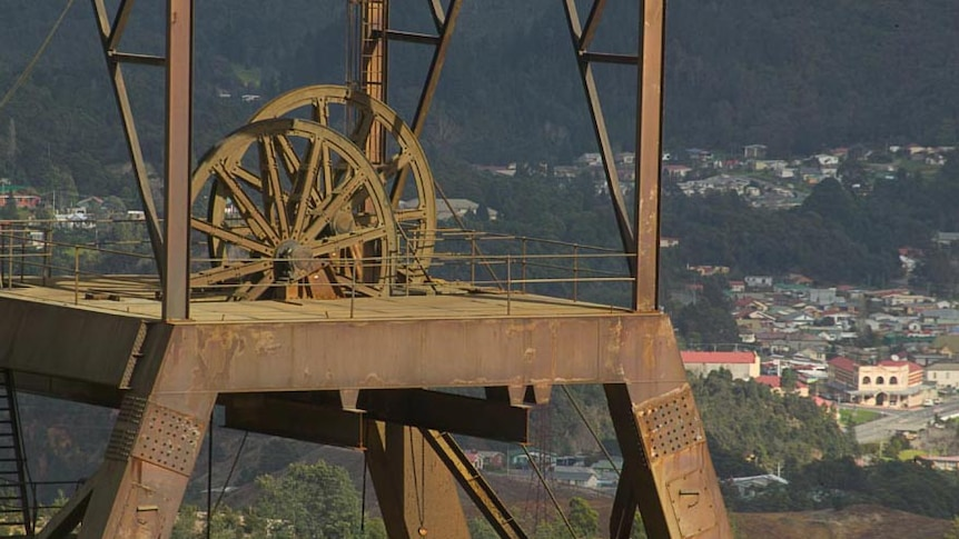 West coast town of Queenstown behind the local mine's headframe.