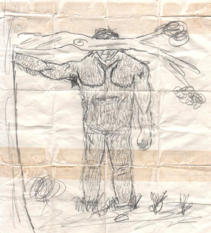 A pencil sketch of an alleged yowie seen in bushland.