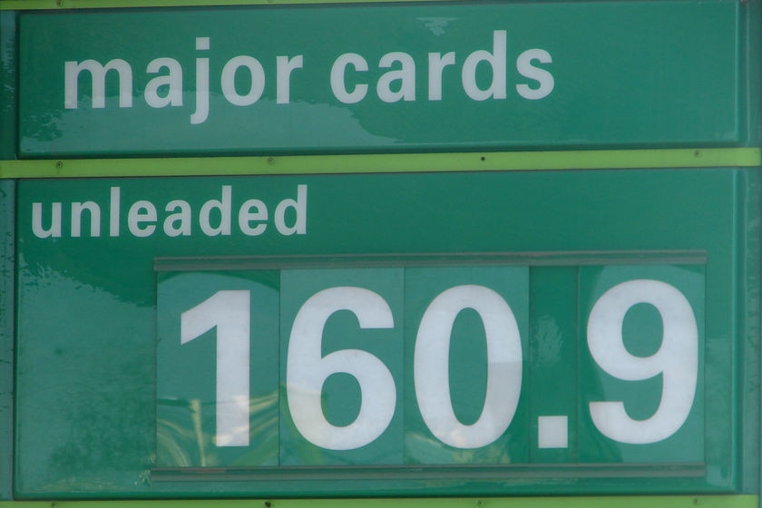 Petrol sign 160.9 cents per litre, May 16, 2008 Hobart