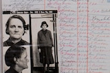 A prison register with a black and white photo of an older woman. Entries in black and red read 'to prison' and 'to freedom'.