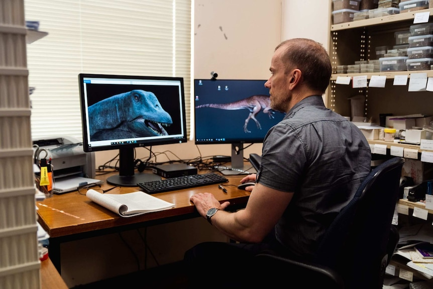 A man is sitting at the computer looking at dinosaurs on two display screens
