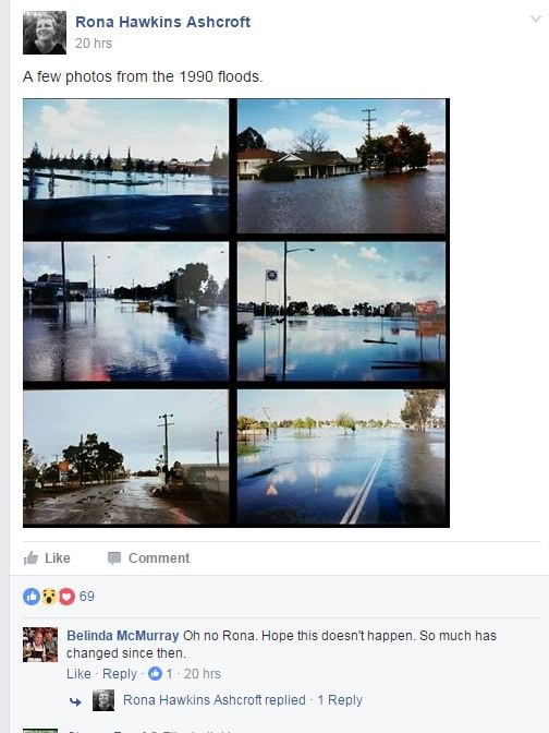 A screen shot of a facebook page with photos of flooded streets