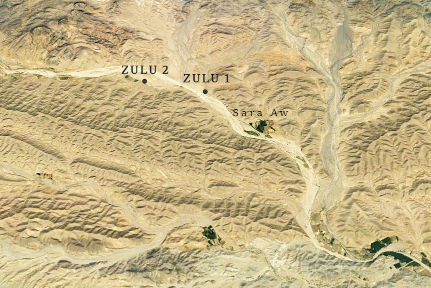 Satellite image of arid land showing where the two Black Hawks landed.