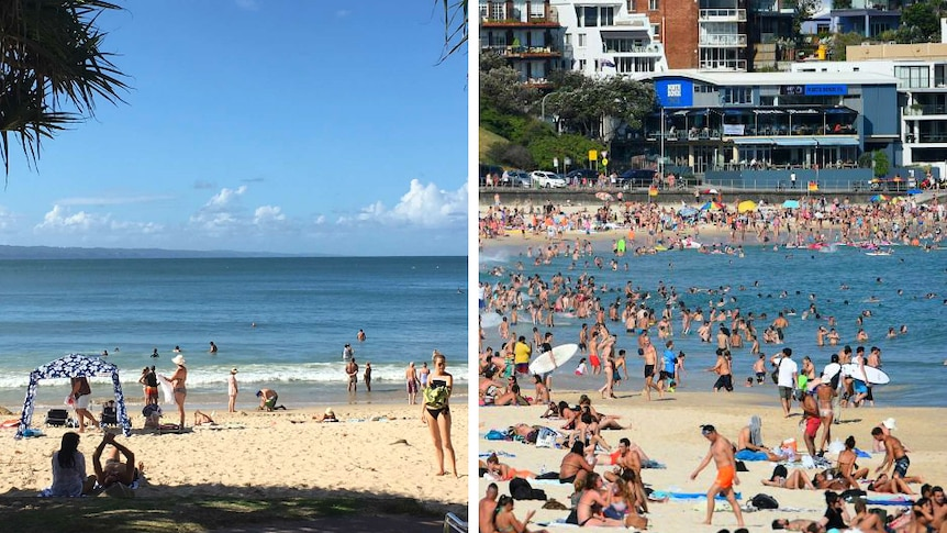 A composite photo of a quiet Noosa beach and busy Bondi beach crowds.