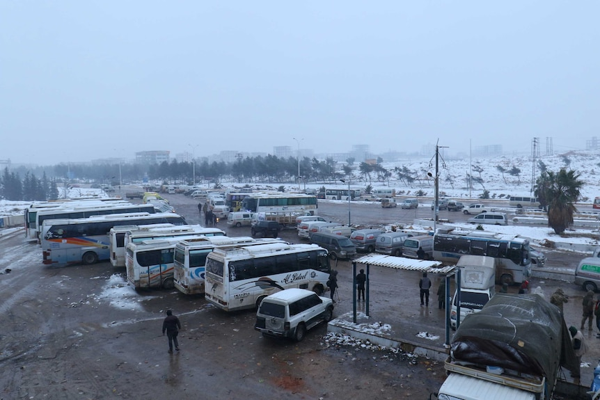 Evacuations were temporarily stalled as busses were held up at insurgent-held al-Rashideen.