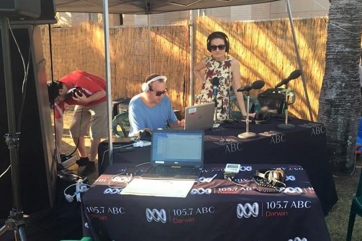 An ABC radio broadcast studio is set up outdoors