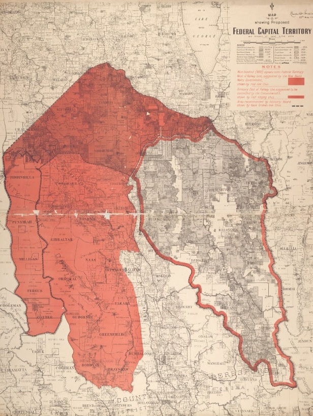 Map of the original area proposed to make up the ACT.