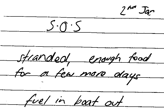 Scanned copy of SOS message.
