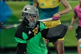 Hockeyroos goalkeeper Rachael Lynch makes a save against Argentina