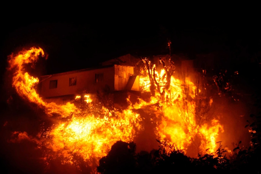 City of Valparaiso burning in Chile.