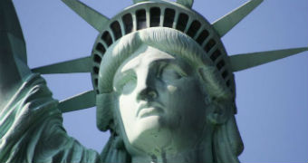 A close-up of the face of the Statue of Liberty.