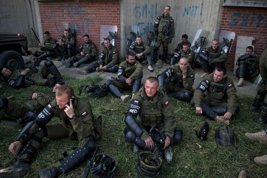 KFOR soldiers take a break in Kosovo