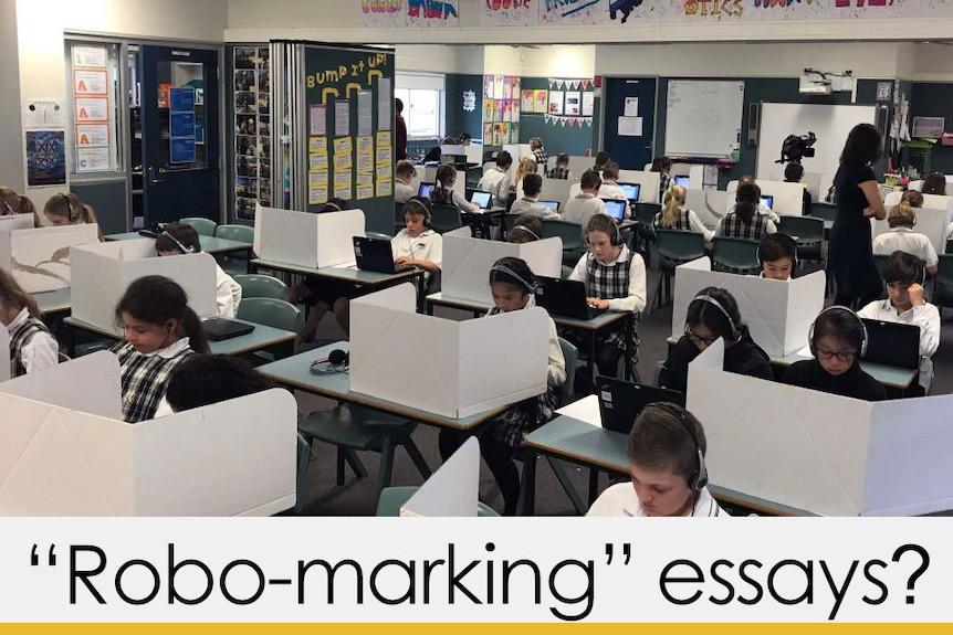 "School students sitting NAPLAN test caption ""robo-marking"" essays? yellow bar"
