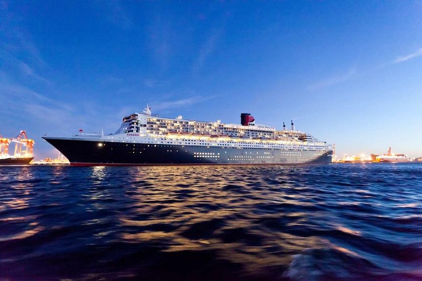 A large cruise liner docked at Brisbane.