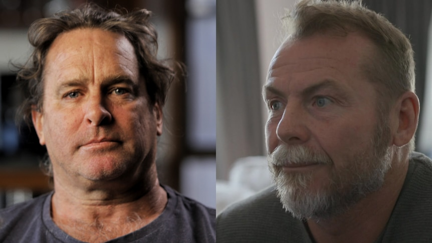 A composite photo of two middle-aged men.