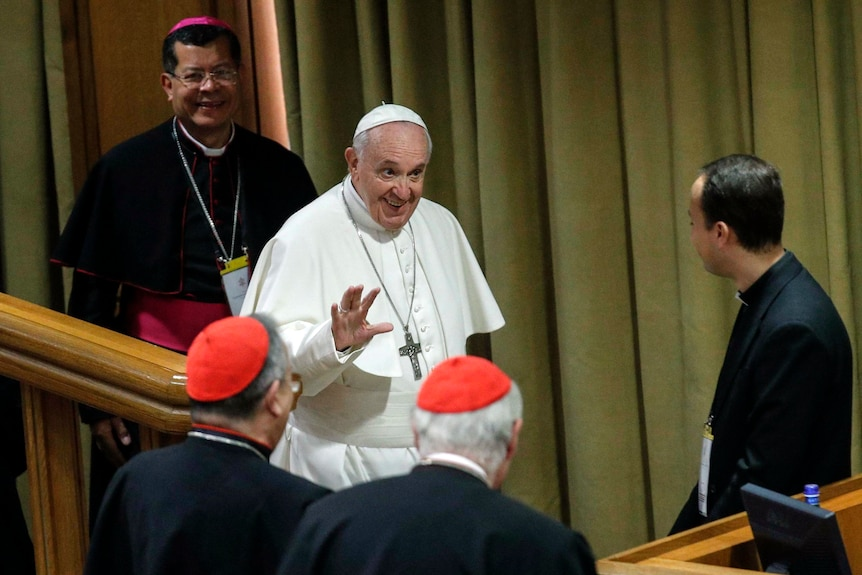 Pope Francis at the Vatican conference dealing with sex abuse