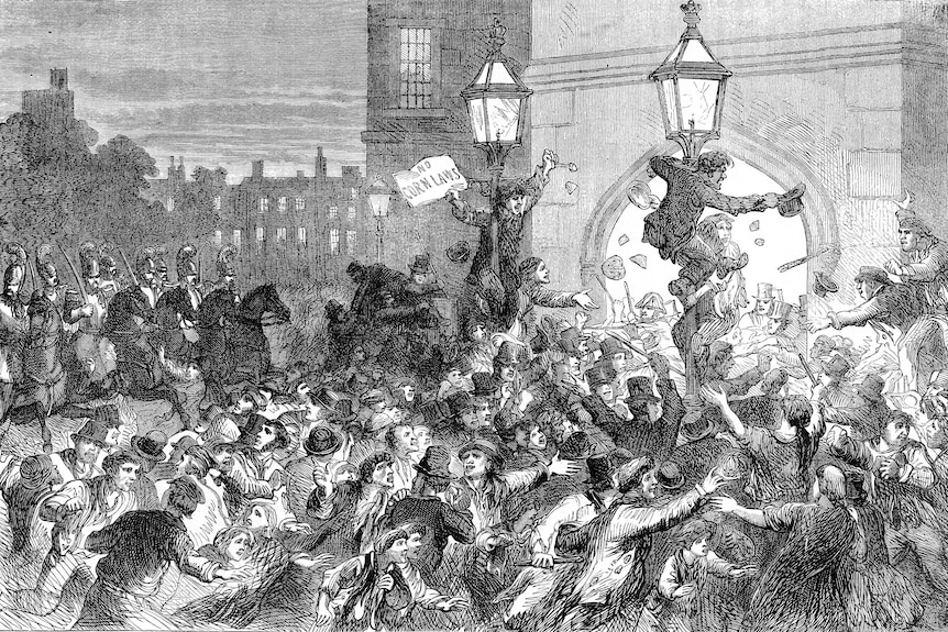 Black and white illustration of people gathering outside the House of Commons in protest.