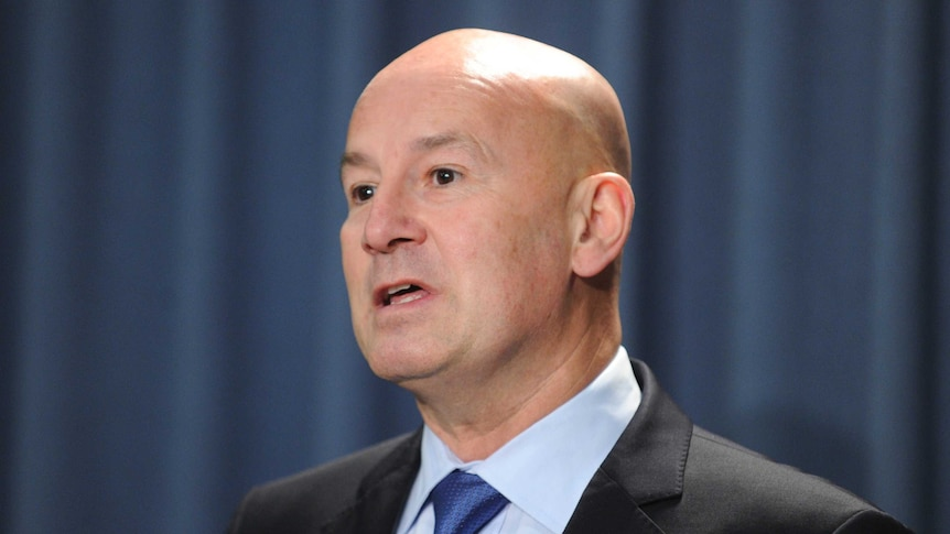 NSW Opposition leader John Robertson speaks to the media during a press conference.