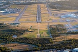 An aerial photo of Perth airport runway