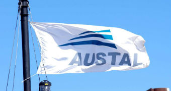 The flag of Austal shipbuilders.