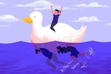 Illustration of a child on a white duck with their parents underwater kicking for story about parents' work-life balance