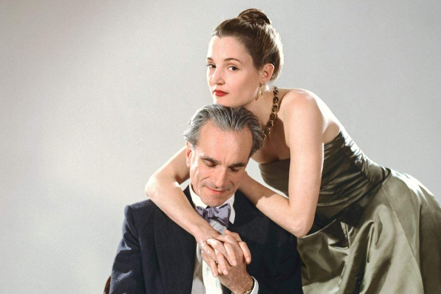 Vicky Krieps and Daniel Day-Lewis photographed together in the film, Phantom Thread