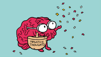 Illustration of a brain throwing negative thoughts from basket into the air
