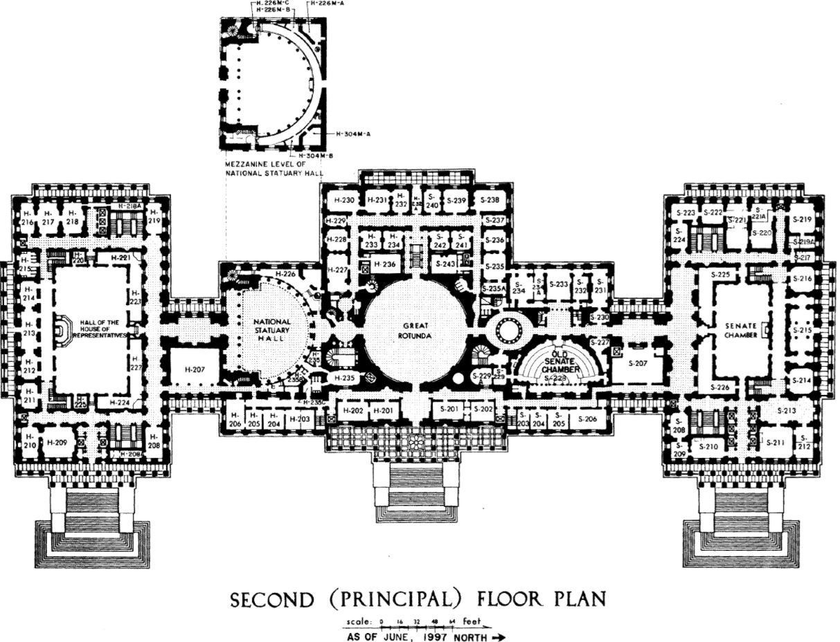A back and white floor plan of the US Capitol building.
