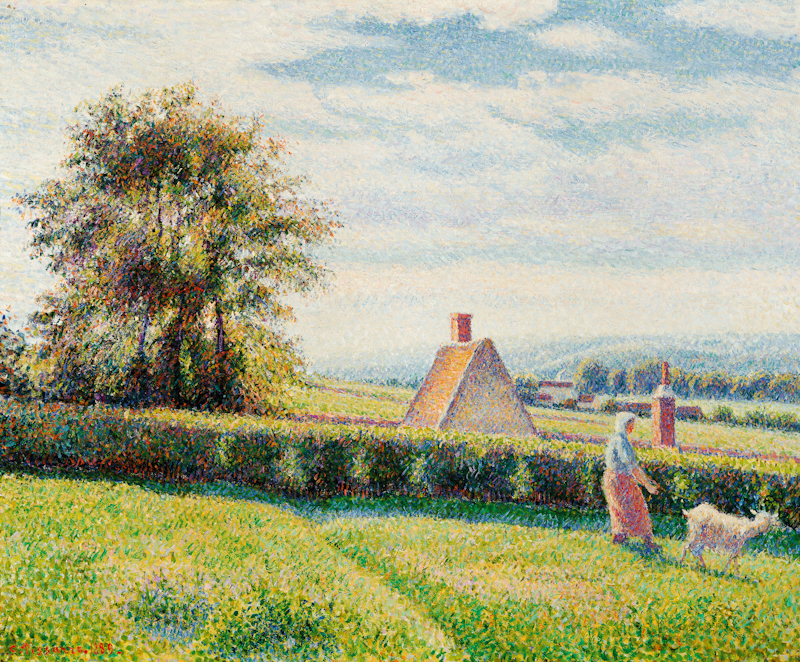 Impressionist-style landscape with pointillist brushwork, showing sunlight grass pasture and and woman with goat.