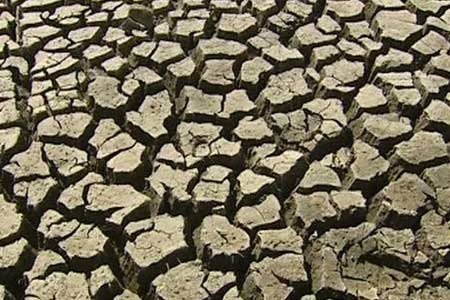 Dry cracked land, the result of drought.