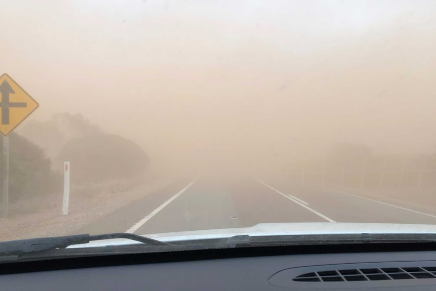 Dust storm viewed from inside a vehicle on Eyre Peninsula.