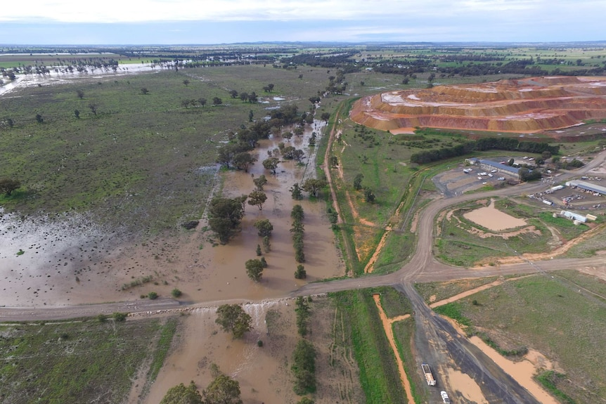 Flooded paddocks and part of a mine