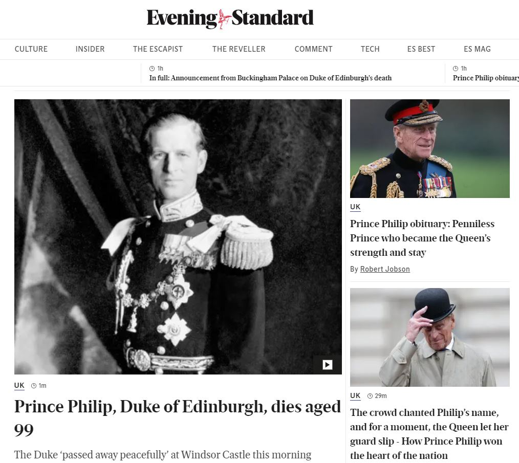 Evening Standard website after the death of Prince Philip.
