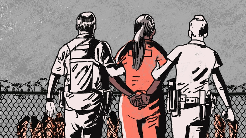 An illustration shows two guards leading a female prisoner towards a jail yard.