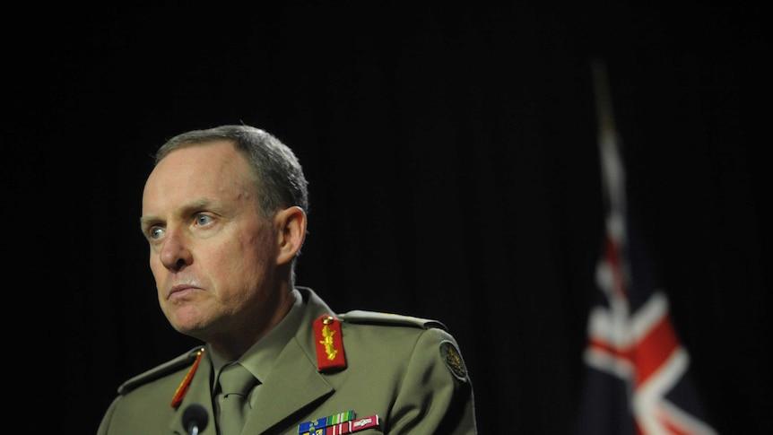 Army chief Lieutenant General David Morrison addresses the media