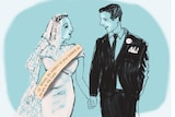 A sketch of a groom and his bride, who is wearing a sash inscribed with Ephesians 5:22.