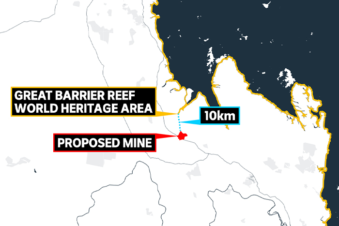 A map shows the location of a mine and the location of the Great Barrier Reef.