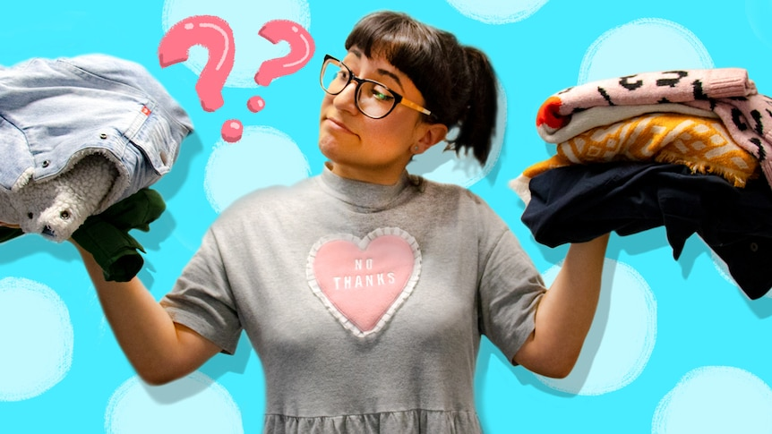 Woman holding two piles of clothes and deciding between them for story about what to do with unwanted clothes