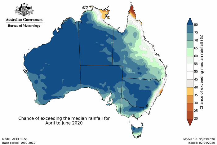 Map of Australia, with lots of blue indicating above 80% chance of above average rainfall