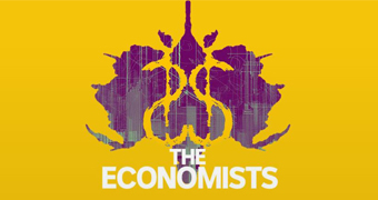 The logo for the Economists show, showing a purple Rorschach inkblot on a yellow background.