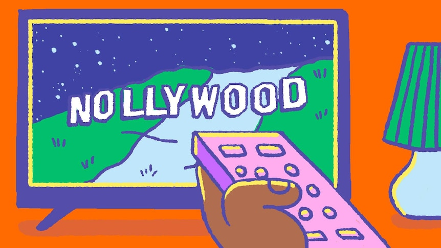 Illustration of a dark-skinned hand pointing a remote at a TV which has 'Nollywood' written across the screen