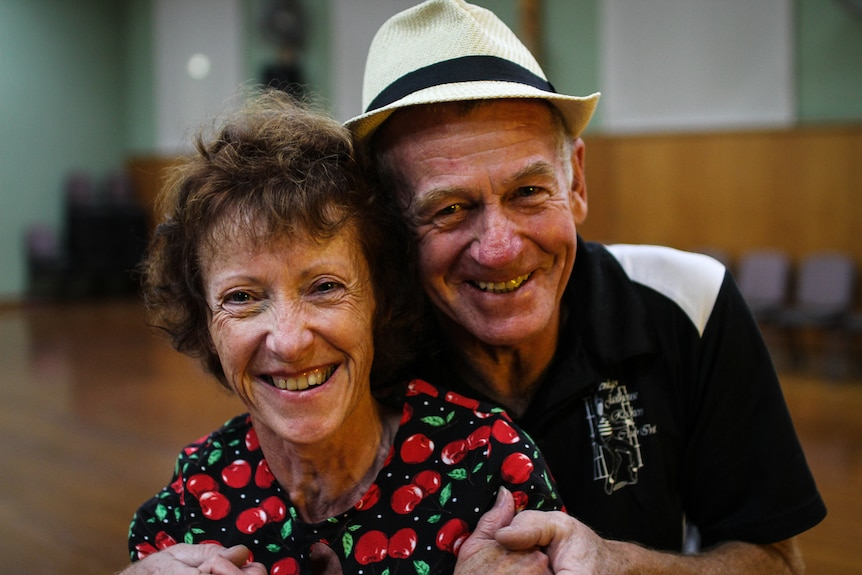 A close up of Liz Dawborn and her dance partner Len Fisher smiling.