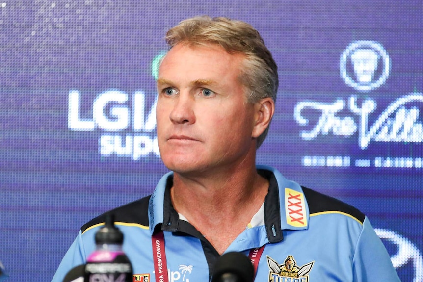The coach of the Titans NRL team speaking to media