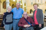 Bill Hayden (seated), with his three siblings standing alongside, on the day of his baptism at St Mary's Church at Ipswich.