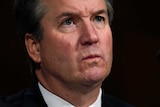 A tightly cropped image of Brett Kavanaught looking thoughtful.