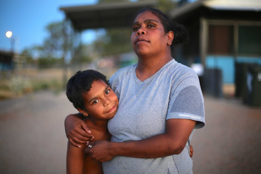 An Aboriginal mother (Megan Hoosan) and her child (Dujuan Hoosan) in the documentary In My Blood It Runs