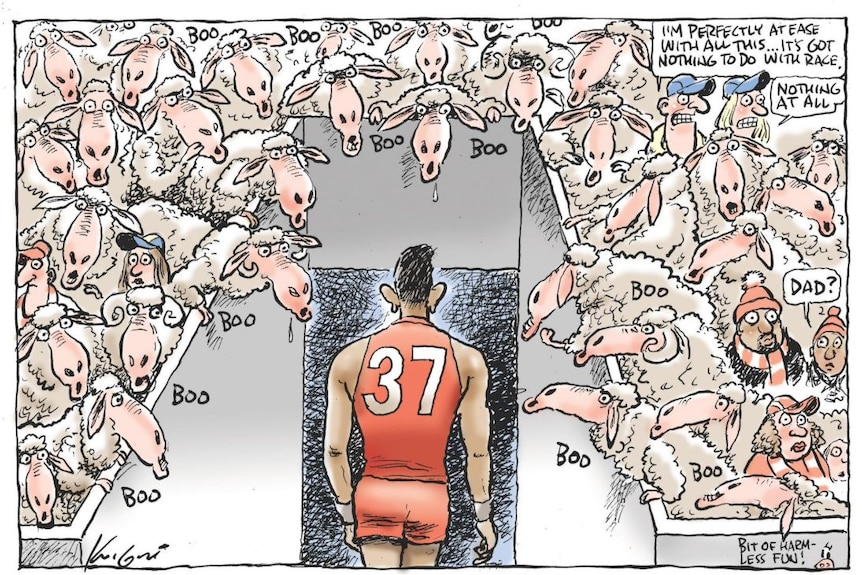 Adam Goodes walks from the ovals to the change rooms as white sheep 'boo'.