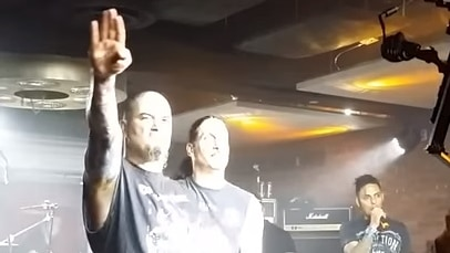 Former Pantera singer Phil Anselmo gives a Nazi-style salute