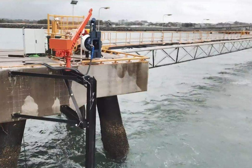 A tidal turbine being installed at Gladstone Port.