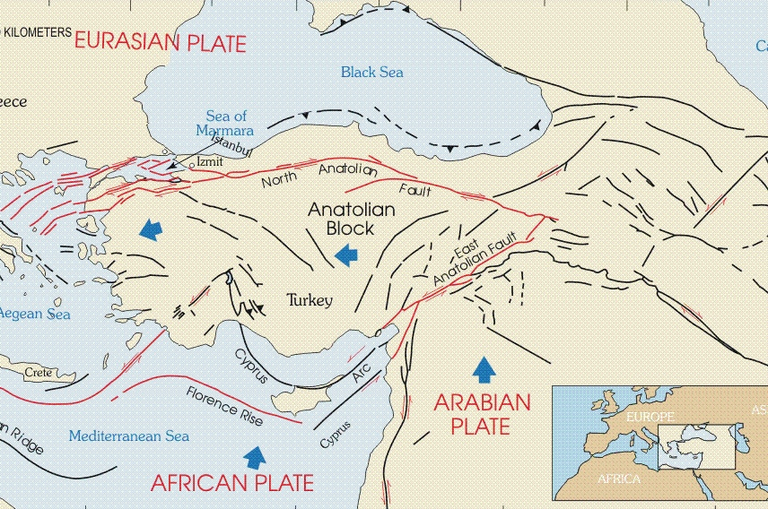 A cream and blue map of Turkey showing the country's two primary tectonic fault lines.